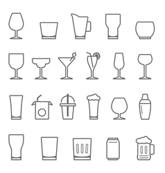 Lines icon set - glass and beverage vector image vector image