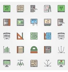 Mathematics icons set vector