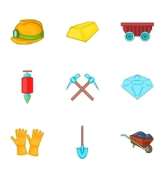 Mine icons set cartoon style vector