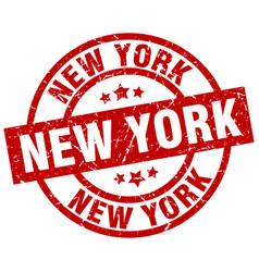 New york red round grunge stamp vector
