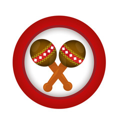 Red circle with pair of maracas vector