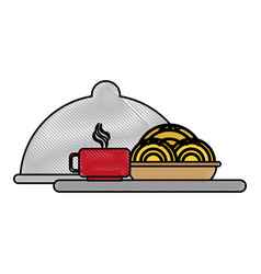 restaurant dish dome vector image
