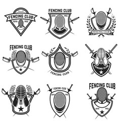 Set of fencing sport emblems vector