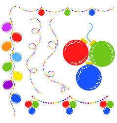set of flat colored isolated christmas toys vector image