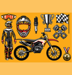 Set of high detailed motocross racing element vector