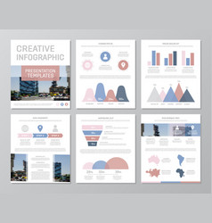 set of red blue and pink elements for vector image vector image