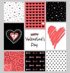 Set of valentines day hand drawn posters vector