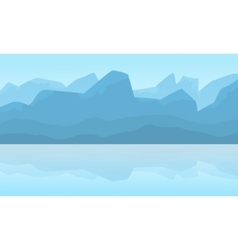 Silhouette of mountain landscape at winter vector image vector image