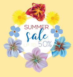 Summer sale flower banner with text on yellow vector