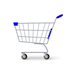 Supermarket shopping cart empty classic vector