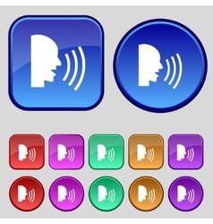 Talking flat modern web icon set colour button vector