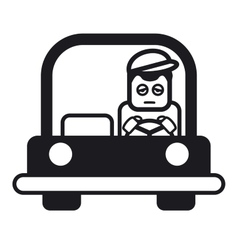 Tired sleepy young man driving a car vector image
