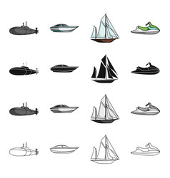 Transport water submarine and other web icon in vector