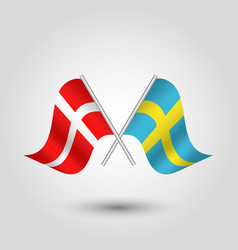 Two crossed danish and swedish flags vector