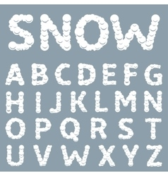 White snowy alphabet vector