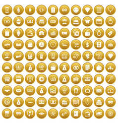 100 money icons set gold vector