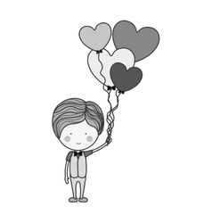 Silhouette man with heart shaped balloons vector