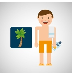 man shorts towel beach vacations coconut tree vector image