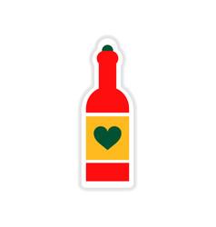 paper sticker on white background heart bottle vector image