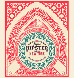 hipster card ornaments and floral details vector image