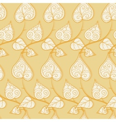 Seamless pattern with doodle leaves and branches vector