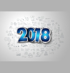 2018 new year infographic and business plan vector