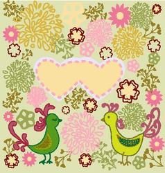 pattern birds in love heart shape vector image
