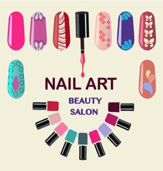 Beauty nails art beauty salon vector