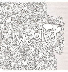 Wedding hand lettering and doodles elements sketch vector