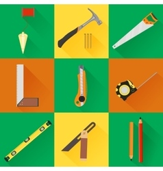 Carpenter tool flat icons vector