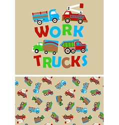 Work trucks with matching repeat pattern vector