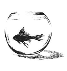 Hand sketch aquarium with fish vector image