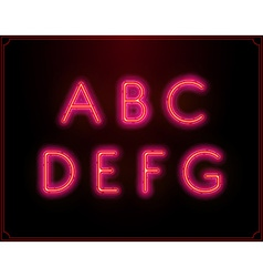 Neon font type alphabet glowing in vector