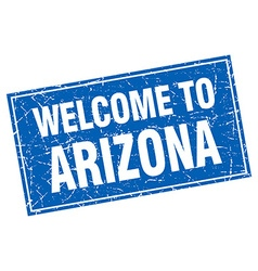 Arizona blue square grunge welcome to stamp vector