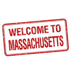 Welcome to massachusetts red grunge square stamp vector