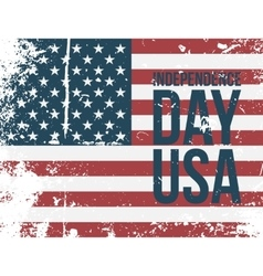 Independence day usa text on american flag vector