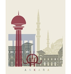 Ankara skyline poster vector image vector image