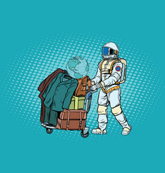 Astronaut traveler with baggage cart vector