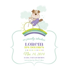 Baby shower or arrival card - baby dog on a bike vector