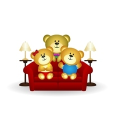 Bear Family On Couch vector image vector image