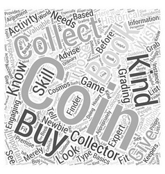 Bwcc coin collecting book word cloud concept vector