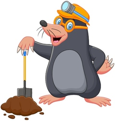 Cartoon mole holding shovel vector image