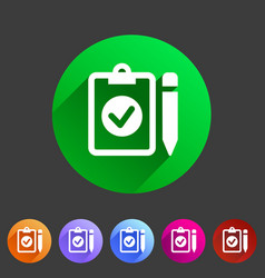 clipboard checklisticon flat web sign symbol logo vector image vector image