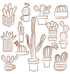 Collection of cute potted cactuses vector