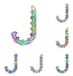Colorful ellipse fractal font - letter j vector