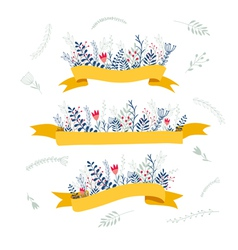 Decorative floral composition with ribbon for text vector