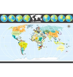 detailed political world map with all countries vector image