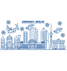 germany berlin winter city skyline merry vector image