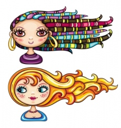 Girls hair styles vector