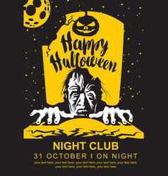 halloween banner with zombie moon and grave vector image vector image